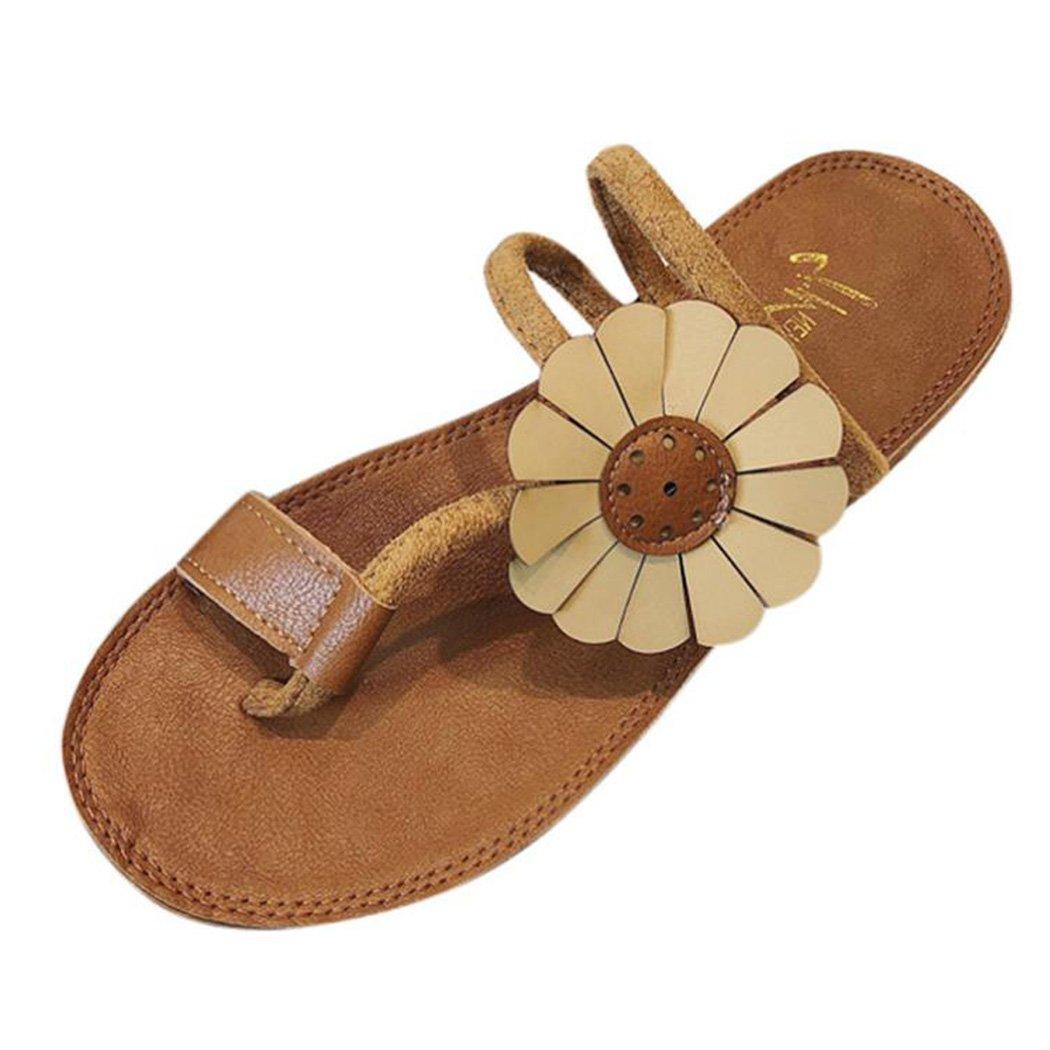 bfcac46aa9ca Inkach Women Bohemian Summer Sandalias Planas Flor Flip-Flops Beach Shoes  Sandalias Zapatillas Amarillo
