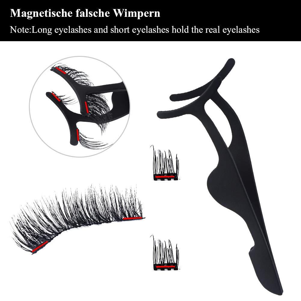 Wskderliner 3D Magnet Wimpern Set, Wiederverwendbare Drei Magnetische Künstliche Wimpern Voll Streifen, Dual Magneten Magnetic False Eyelashes + Edelstahl Pinzette (1 Paar 6 Stück)