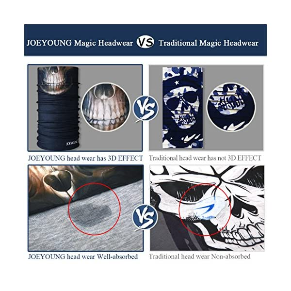 Neck Gaiter Head Wrap Headband Balaclava Magic Scarf Bandana JOEYOUNG Headwear