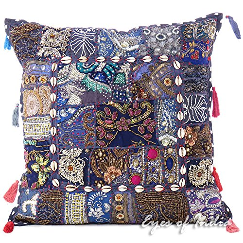 Eyes of India - 20' Blu Patchwork Decorativo Sofà Divano Fodera per Cuscino Cuscino Throw Boho Colorato Indiano della Boemia Copertura - Blu Scuro #19