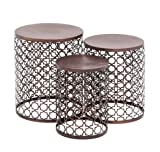 Benzara The Floral Metal Accent Table, Set of 3