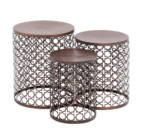 Benzara The Floral Metal Accent Table, Set of 3 by Benzara (BENZD)