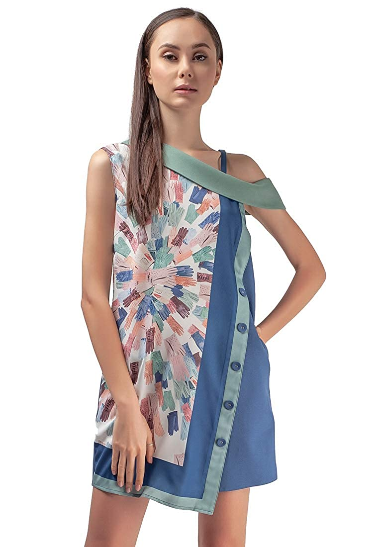 Multi Plains and Prints Womens Marbella Kamillah Sleeveless Dress