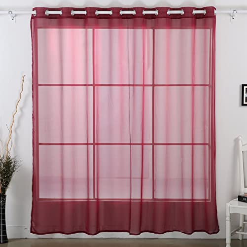 Deconovo 1 Panel Decorative Grommet Voile Delicate Sheer Wide Width Curtain for Study, 100W x 95 L Inch, Maroon