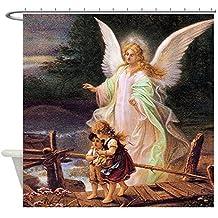 CafePress - Guardian Angel With Children On Bridge Shower Curt - Decorative Fabric Shower Curtain