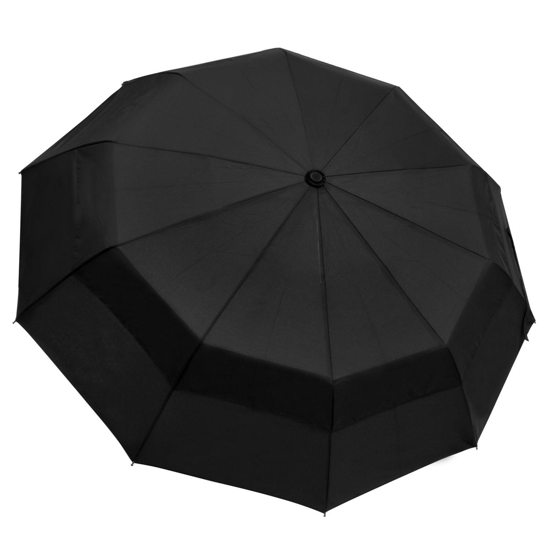 outdew Compact Travel Umbrella Windproof Unbreakable 10 Fiberglass Ribs Finest Windproof Double Canopy Construction with Teflon Coating Auto Open /& Close Button Umbrellas Black 21212