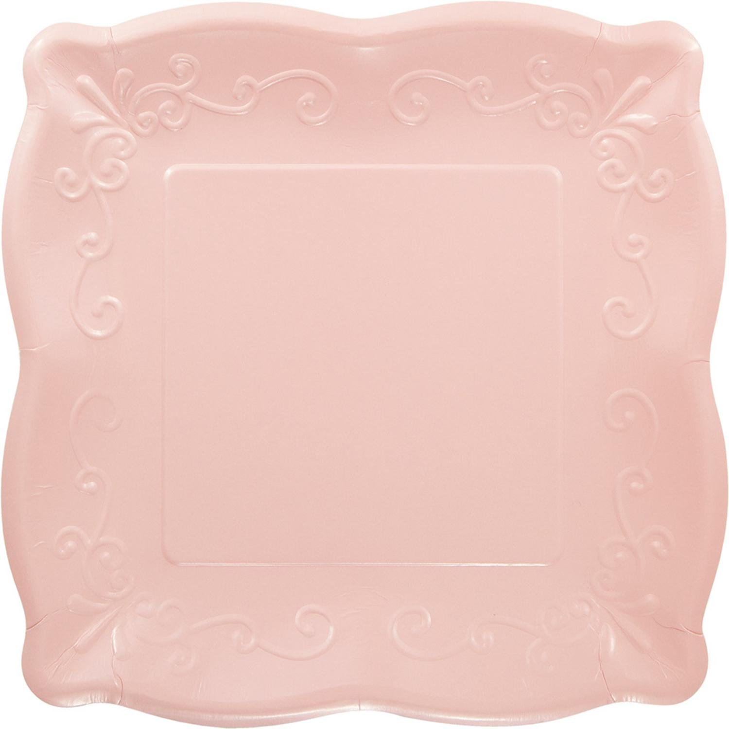 Pack of 12 Pink Linen Premium Disposable Paper Square Party Lunch Plates 10.5''