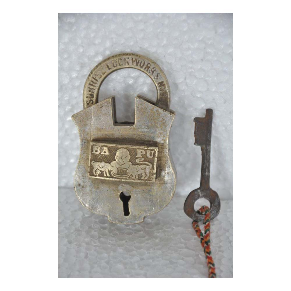 Old 1940's Brass Handcrafted Sunri Lock Works BAPU Brand Padlock