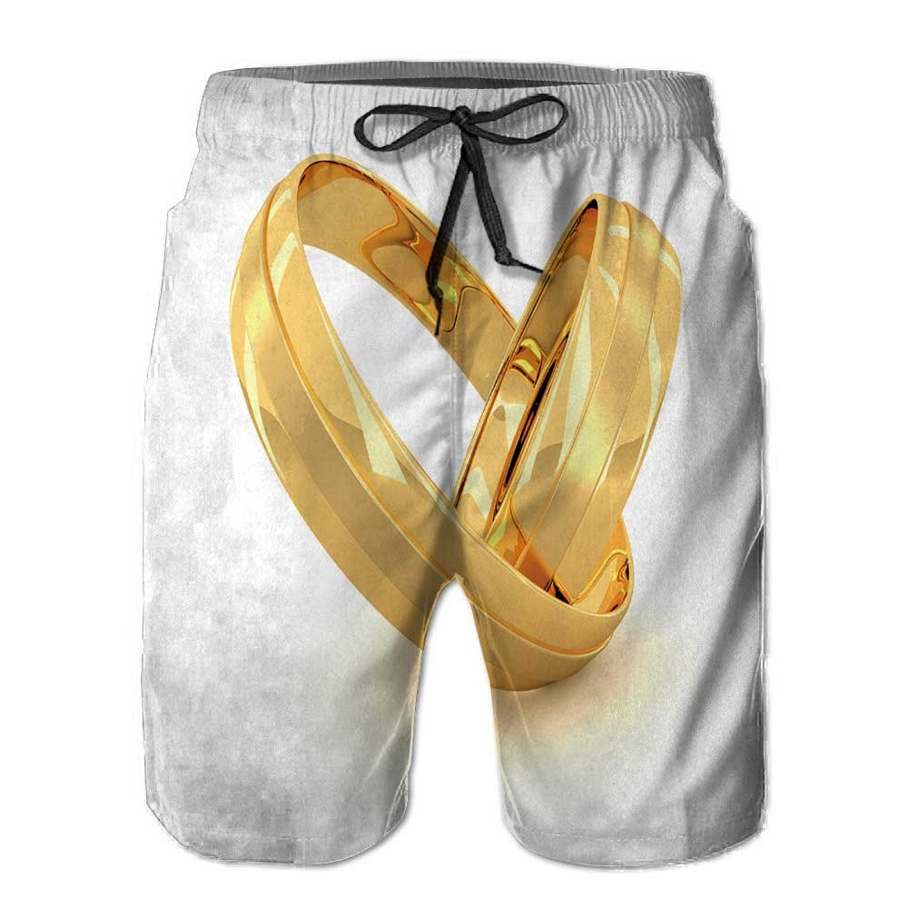PRUNUShome Men's Sportwear,Two Golden Wedding Rings Isolated Quick Dry Board Shorts