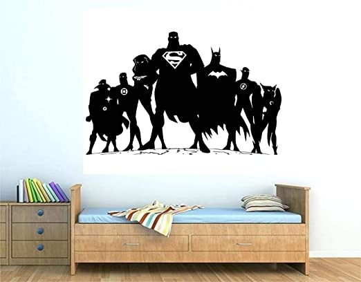 Justice League Heros Wall Stickers Kids Nursery Decor Vinyl Decal Art Mural Gift