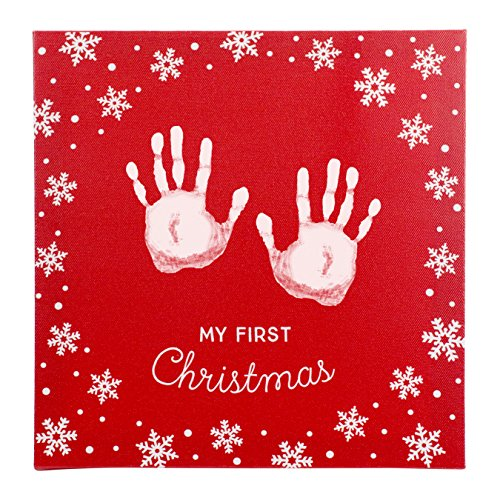 (Tiny Ideas Holiday Baby's Prints DIY Canvas Keepsake with Included Non-Toxic Paint to Personalize,)