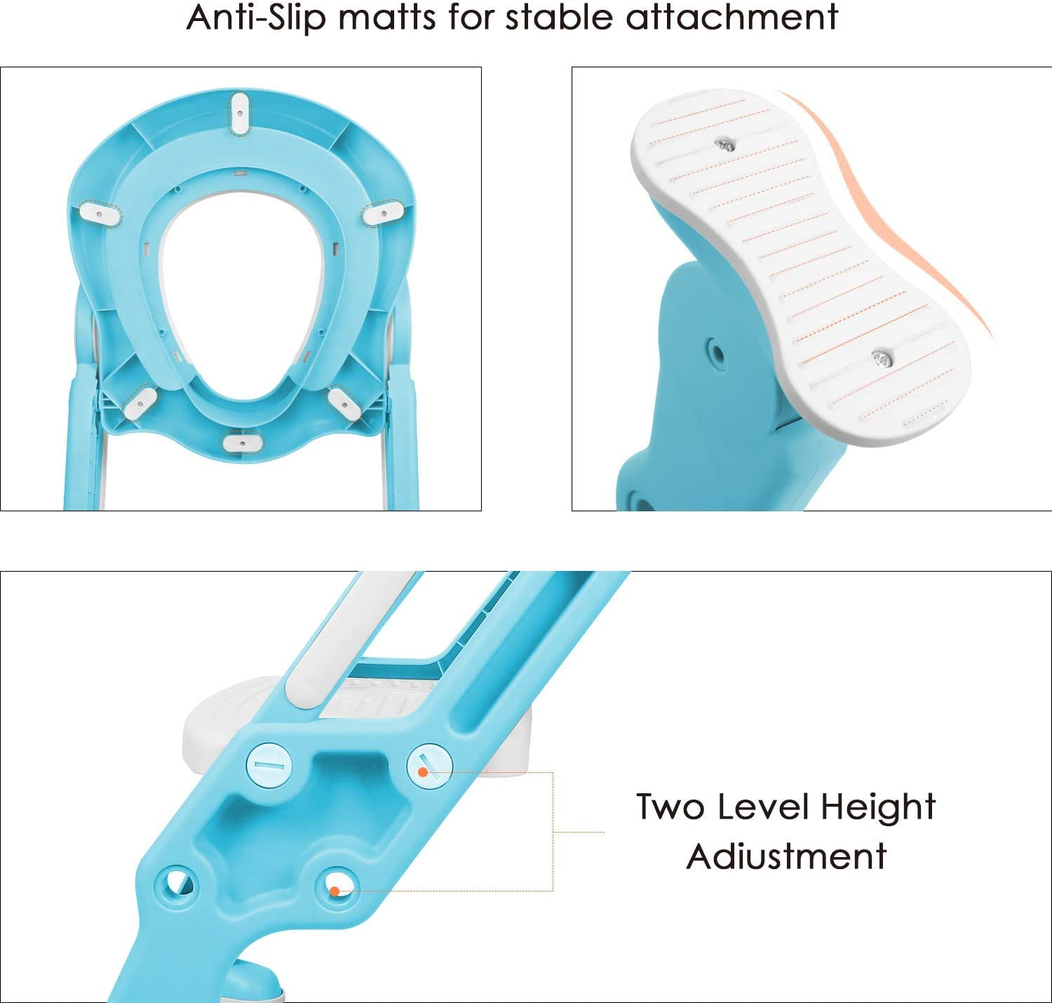 Potty Training Toilet Seat with Step Stool Ladder for Kids Children Baby Toddler Toilet Training Seat Chair with Soft Cushion Sturdy and Non-Slip Wide Steps for Girls and Boys Blue White