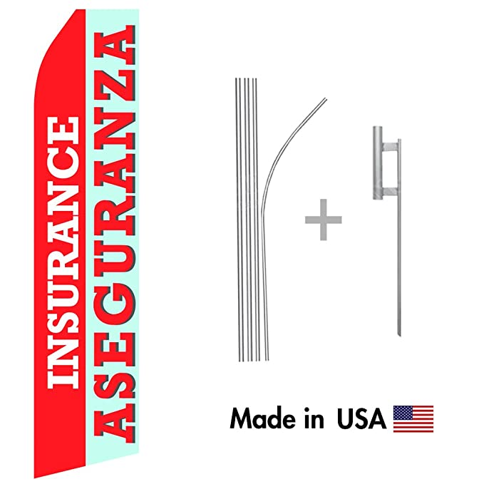 Amazon.com : wall26 Insurance Aseguranza Econo Flag | 16ft Aluminum Advertising Swooper Flag Kit with Hardware : Garden & Outdoor