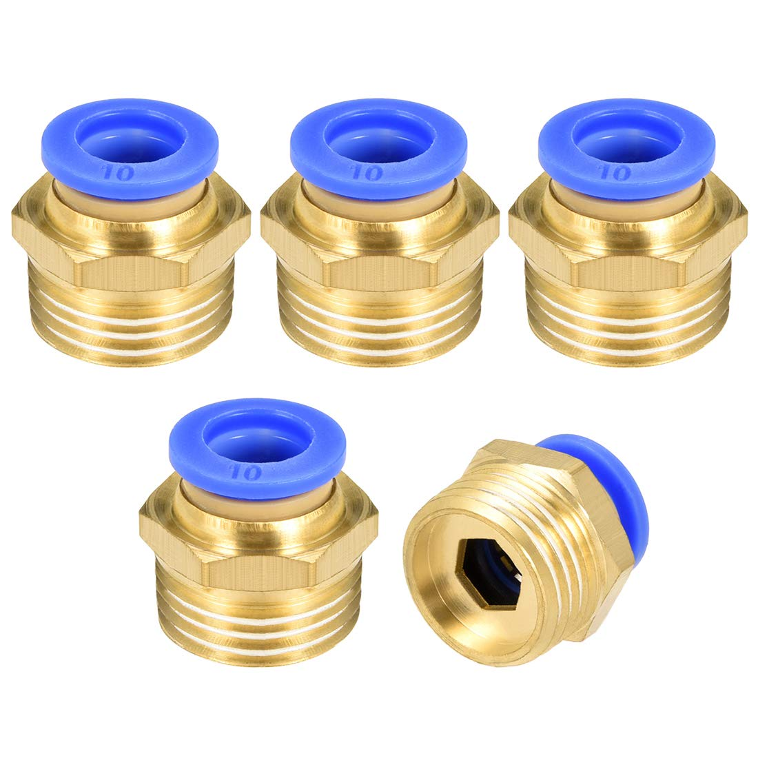 uxcell Straight Pneumatic Push to Quick Connect Fittings G 1//4 inches Male x 6mm Tube OD 5pcs