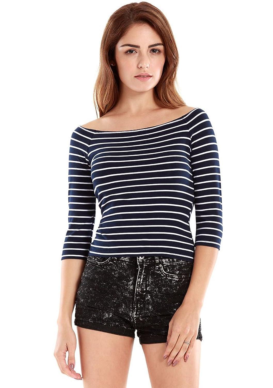 VESSOS Frauen Blusen beiläufige Jersey Streifen 3/4 Ärmel Boot Ausschnitt Bluse Tops