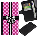 Pink Polka Dot Package Black Bowtie Colorful Printing Holster Leather Wallet Case Pouch Skin Case Cover With ID Credit Card Slots For SAMSUNG Galaxy S3 III / i9300 / i747