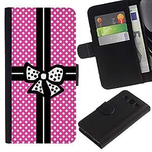 A-type (Pink Polka Dot Package Black Bowtie) Colorida Impresión Funda Cuero Monedero Caja Bolsa Cubierta Caja Piel Card Slots Para Samsung Galaxy S3 III i9300 i747