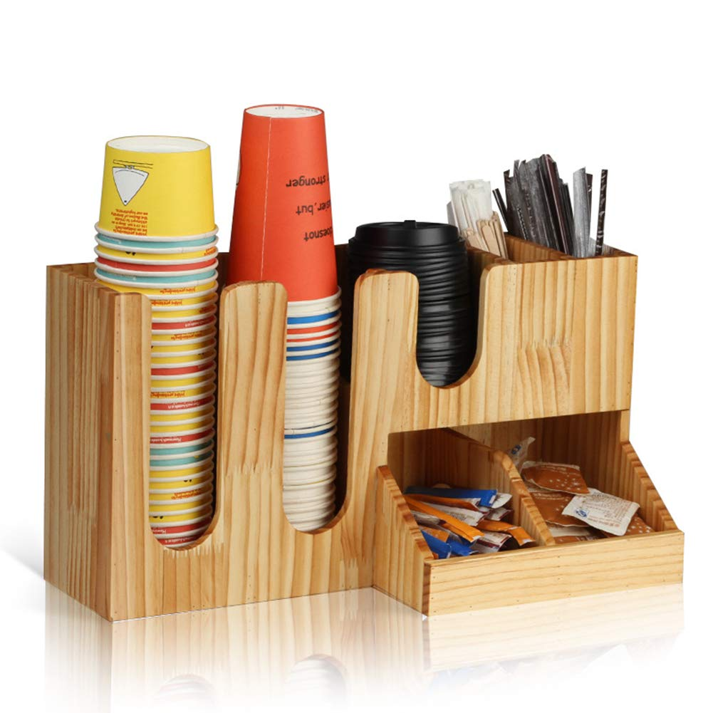 HOUSHIYU-521 7 Compartment Coffee Condiment Organizer, Cup Storage Organizer, Paper Cup Holder, Bamboo Wood Material, for Kitchen and Office Organization