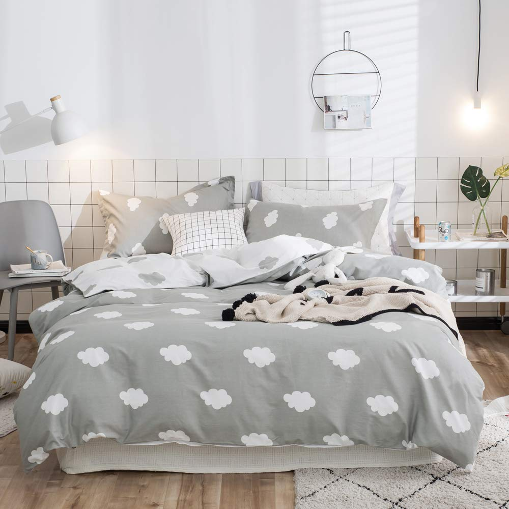 VClife Geometric Duvet Cover Sets Twin Boys Girls Bedding Sets, Checkered Children Teens Bedding Quilt Cover Sets, Gray White Reversible Pattern, Zipper Closure , 4 Corner Ties, Twin VC07020sdsT