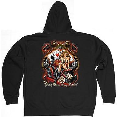 geil bedruckte Biker & Motorrad Hooded Zip Sweater / Play Now - Pay Later  ...