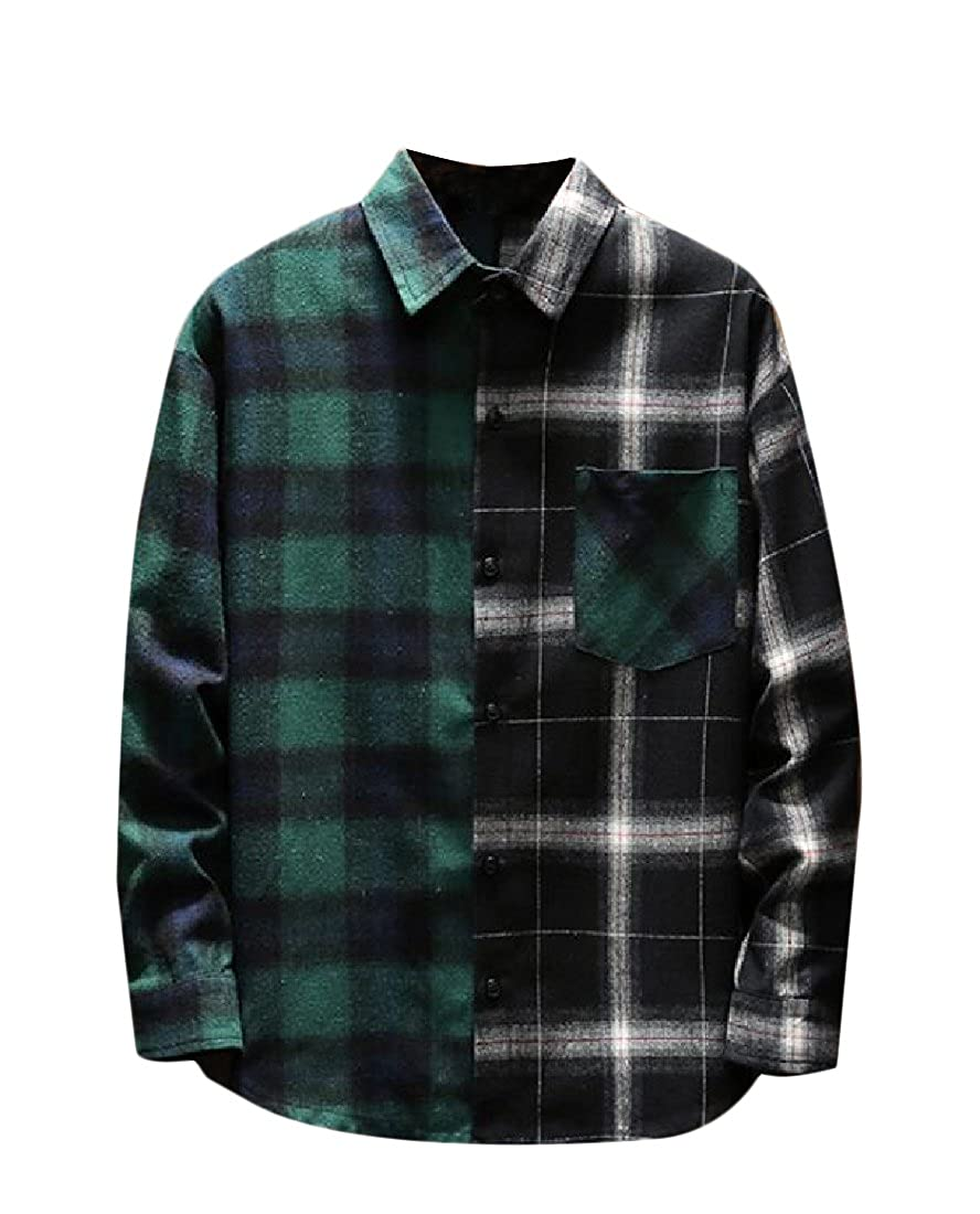 YUNY Men Button Plaid Hit Color Loose Fit Casual Long-Sleeve Shirts Green L