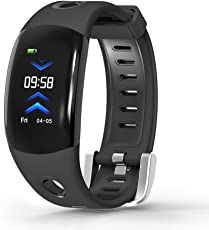 KOSCHEAL Smart Wristband 3D IU dinámica, frecuencia cardíaca, pantalla OLED de 0.96 pulgadas, con podómetro, contador de calorías y kilómetros, notificaciones de mensajes y llamadas, IP68 resistente al agua, compatible con Android e iOS(Negro))