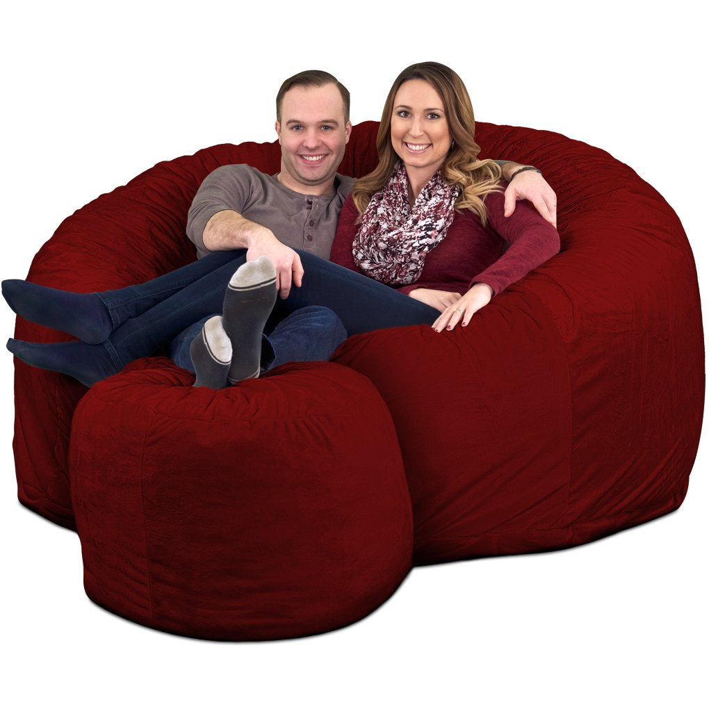 ULTIMATE SACK 6000 Bean Bag Chair w/Footstool: Giant Foam-Filled Furniture - Machine Washable Covers, Double Stitched Seams, Durable Inner Liner, and 100% Virgin Foam Footstool Incl (Burgundy, Suede)