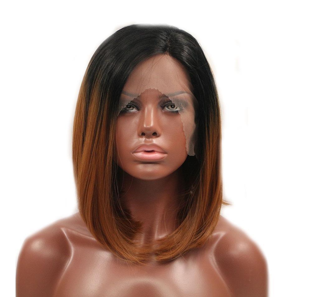 Todo en alta calidad y bajo precio. XY-QXZB Pelucas Europa Europa Europa Y Los Estados Unidos Mujeres marrón Gradiente Onda Cabeza Cabello Corto Antes De La Peluca De Encaje  Garantía 100% de ajuste