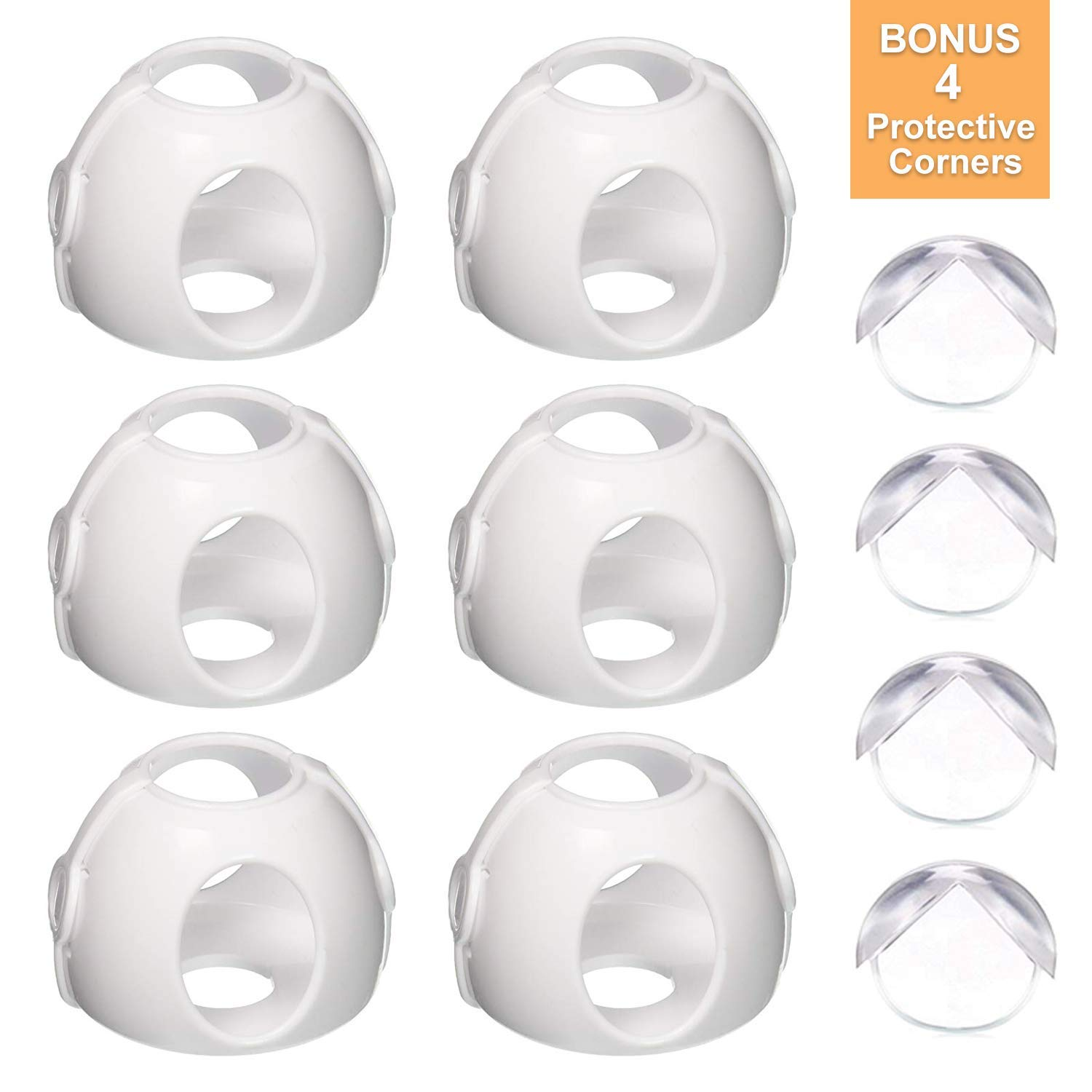Roklur Premium Extra Strength Child Proof Door Knob Safety Covers - 6 Pack- Heavy Duty Protector - Easy to Install White Color Handles - with Bonus Baby/Toddler Proofing Corner Edge Guards
