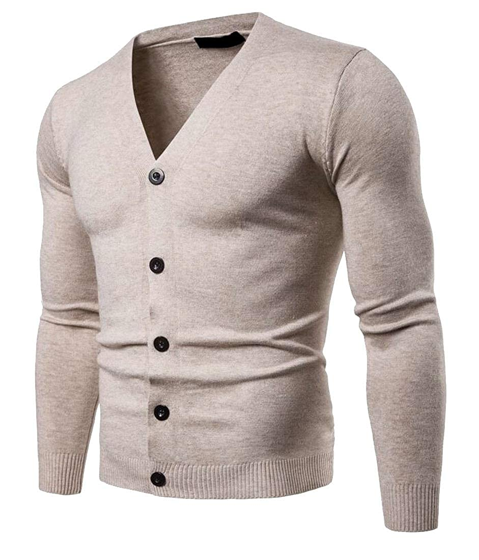 Lutratocro Men Knitted Slim Fit Open Front Casual Long-Sleeve V-Neck Sweater Cardigans