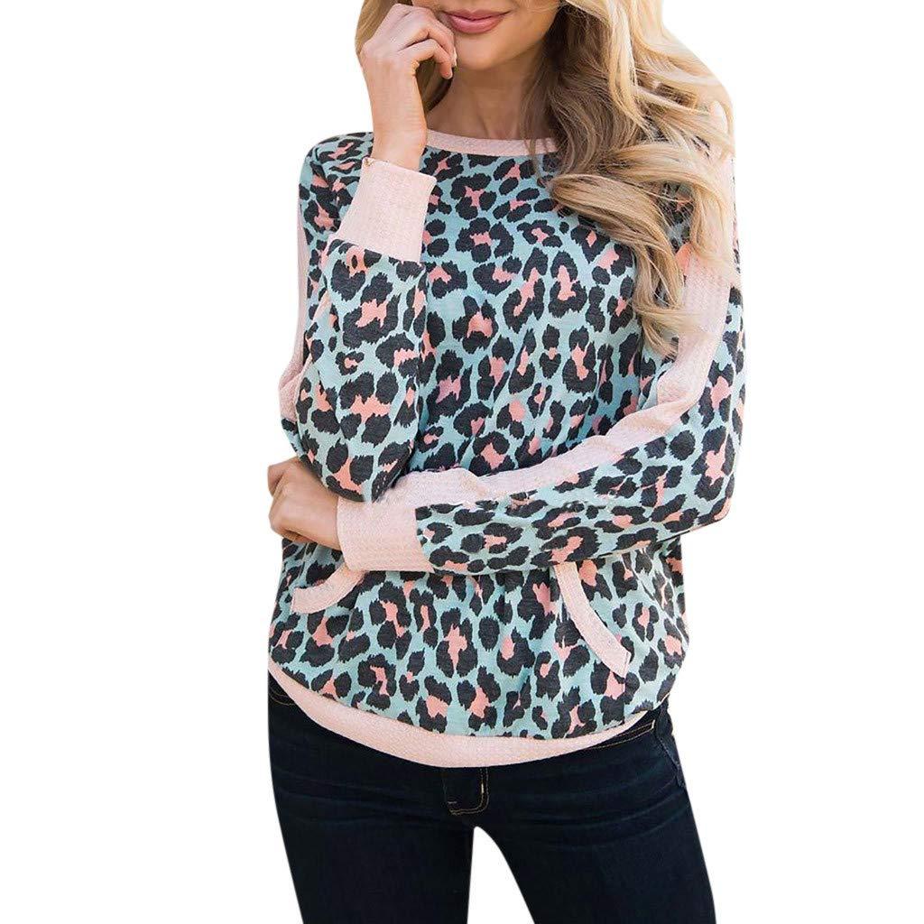 Blusa casual de mujer con estampado de leopardo y cuello redondo ...
