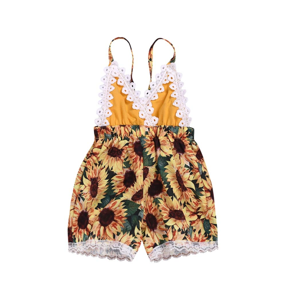 Soly Teche Baby Girls V Neck Straps Backless Lacework Sunflower Print Rompers Jumpsuit