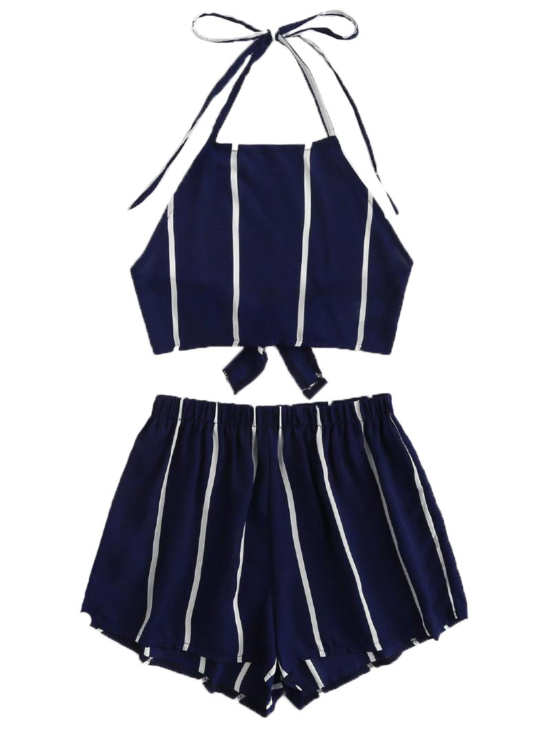 SweatyRocks Women's 2 Piece Outfits Halter Sleeveless Crop Cami Top with Shorts Navy S