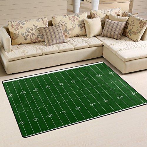 DEYYA Custom Print Non-Slip Area Rugs Pad Cover 60 x 39 Inch, Football Field Modern Throw Rugs Carpet for Dining Room Playroom Living Room Home Decoration