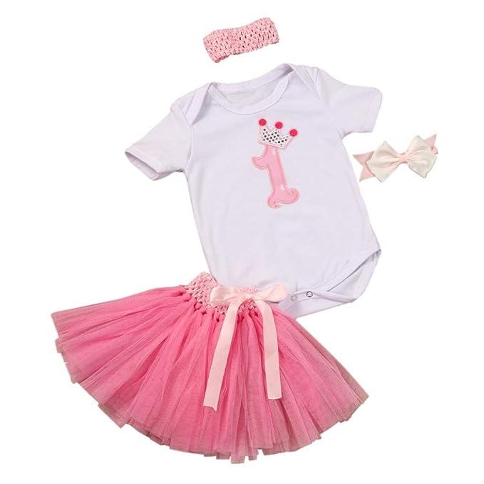 Mono Bebé, Amlaiworld Bebé Niñas Vestido de Falda Vestido de Fiesta de Mameluco 3 Piezas Conjunto Ropa 0-3 Años: Amazon.es: Ropa y accesorios