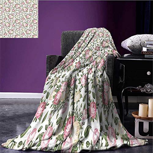 (RenteriaDecor House Decor Microfiber All Season Blanket Roses Rosebuds Leaves Bouquet Flower Arrangements Bridal Victorian Style Art Print Summer Quilt Comforter Bed or Couch 90