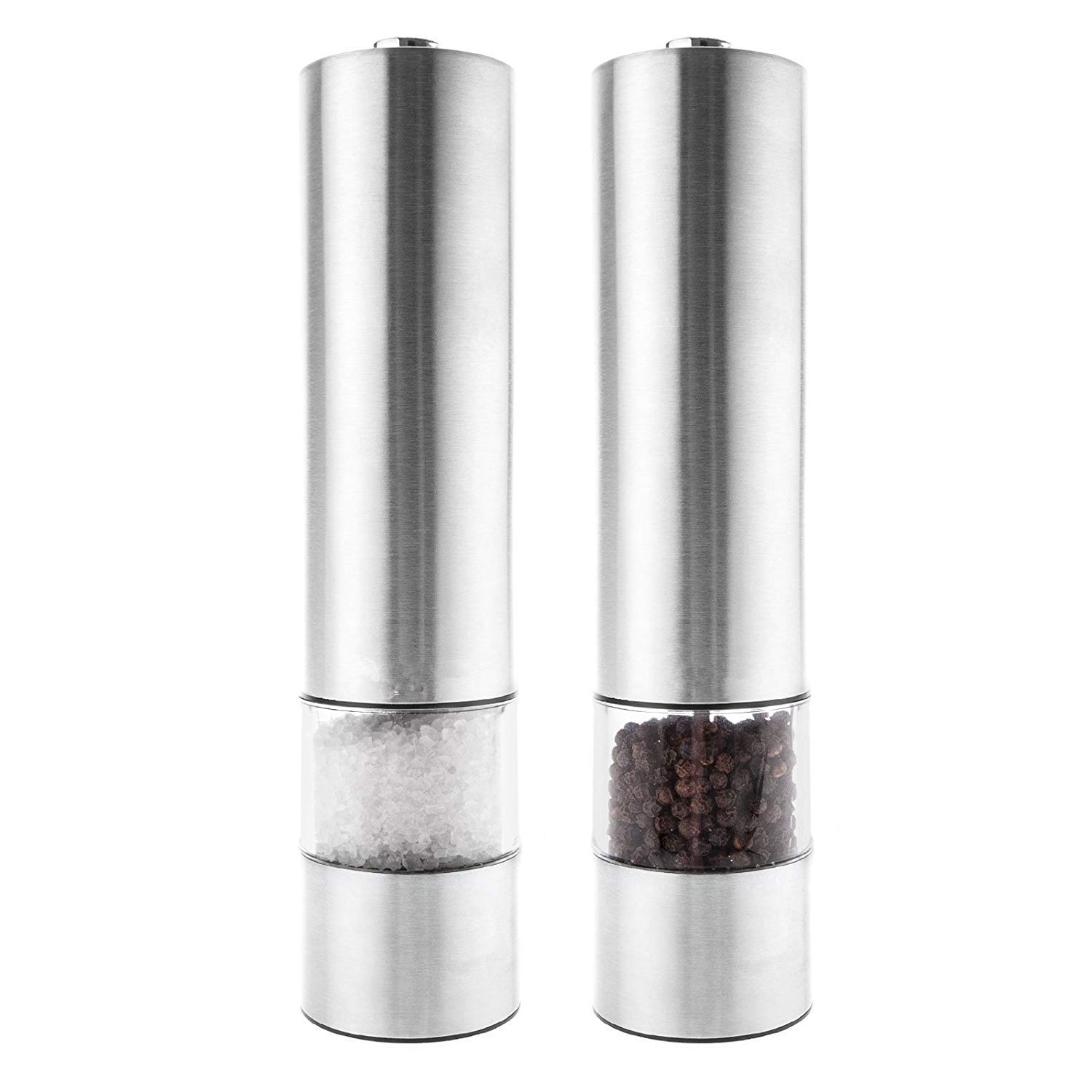 Electric Salt and Pepper Mill Grinders Set - Illuminated Stainless Steel Mills with Large Capacity Grinder Pots & One Touch Operation Adjustable Grinder Zhongqiao