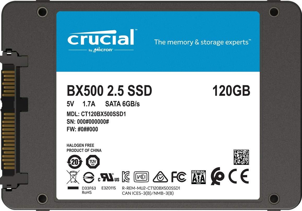 Crucial BX500 CT120BX500SSD1(Z) 120 GB Internal SSD (3D NAND, SATA, 2 5  Inch)