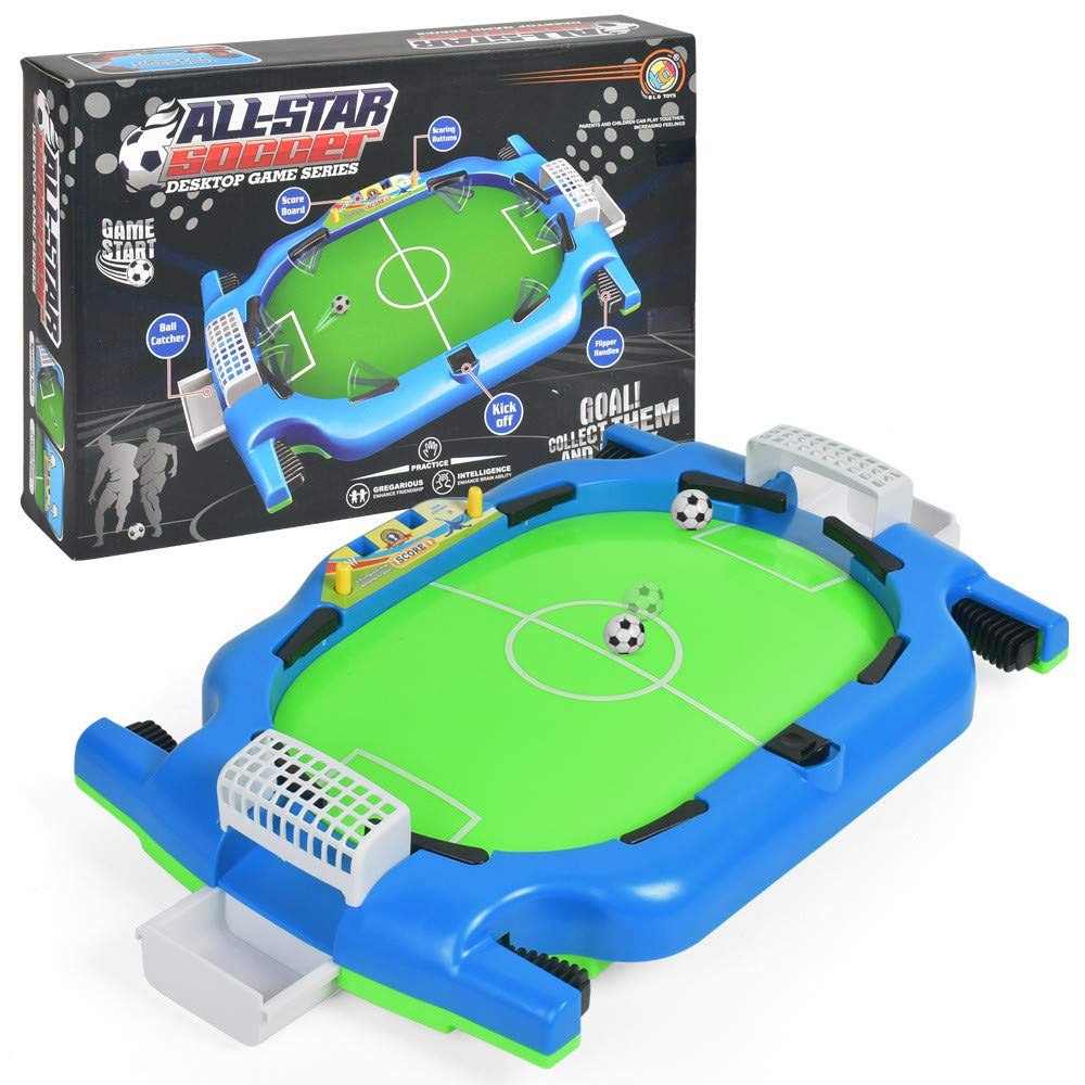 LiPing Funny Kids Adults Table Soccer Mini Interactive Toy Hoop Net Ball Pump Play Set for Kids Play Fun at Home Office Desk Top Anywhere by (A)