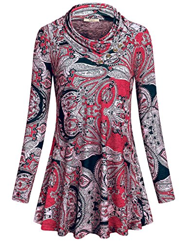 Miusey Casual Shirts for Women, Ladies Lightweight Apparel Knitting Trapeze Plain Loose Fitting Highwaist Sports Boutique Flattering Fashion Regular Tunic Top Junior PulloverRed -