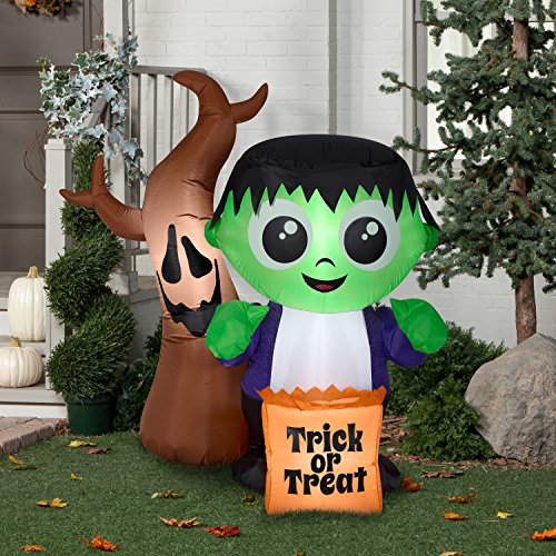 Halloween Airblown Inflatable 5 ft. Monster and Spooky Tree Scene by Gemmy Industries ()