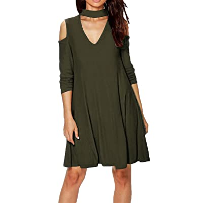 Ya Lida Womens Casual V-Neck Hanging neck strapless Blouse Dresses