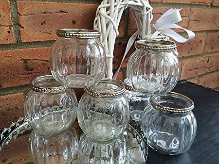 Lanterna portacandela in vetro in stile vintage adatta per la decorazione di tavoli da matrimonio., Vetro, Clear / Transparent, Set da 6 Homes on Trend