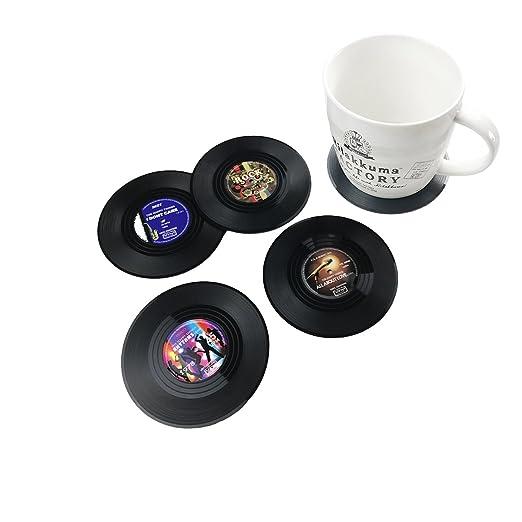 txian 4 piezas alfombrilla de taza de vinilo Retro LP Record ...