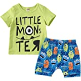 Toddler Kid Baby Boys Summer Clothes Little Monster T-Shirt Tops Shorts Pants Outfit