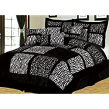 7-Piece BLACK / WHITE Micro Fur Zebra with Giraffe Design Comforter set Patchwork Bed-in-a-bag, (Double) Full Size Bedding