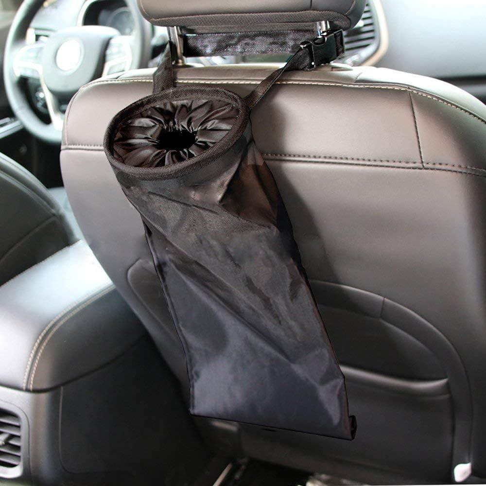 OKMINIOK Universal Car Back Front Seat Headrest Litter Trash Garbage Bag Holder Container Storage Bin Storage Organizer Black