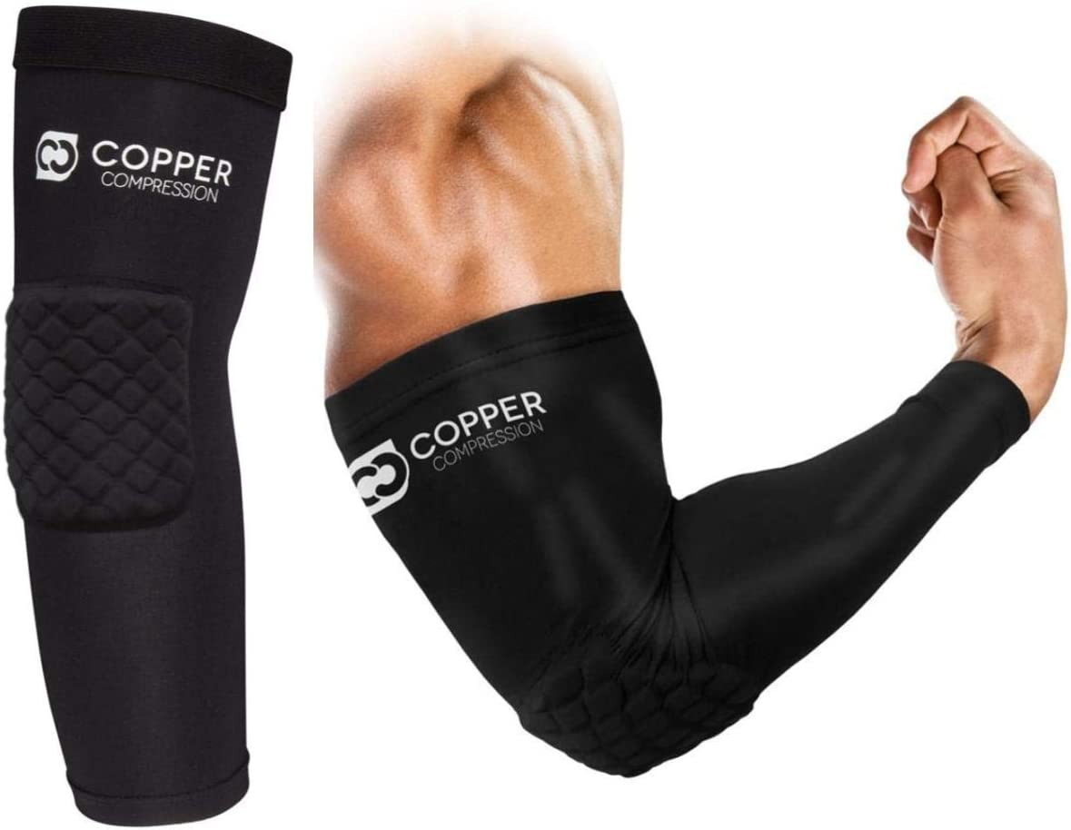 Copper Compression Elbow Pads - Padded Arm Sleeve Fit for Basketball, Volleyball, Football, Sports for Men Women Youth Boys Girls. Guaranteed Highest Copper Support Brace Padding Arms Elbows (Medium)