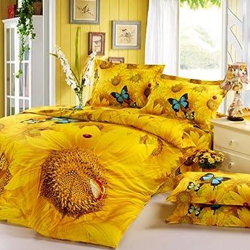 DIAIDI 3D Sunflower Bedding Sets Butterfly Bedding Set Unique Bedding Sets  Yellow. Amazon com  DIAIDI 3D Sunflower Bedding Sets Butterfly Bedding Set