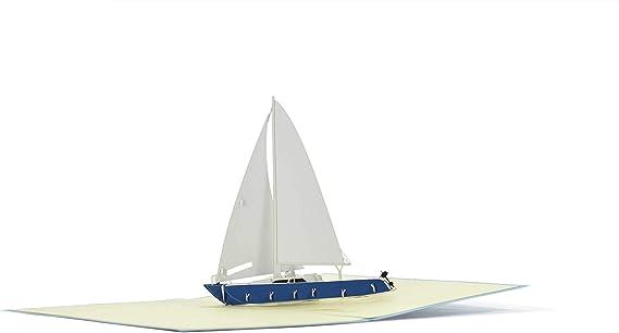 carrozza yacht stupendo biglietto da viaggio per vela vela idea regalo per compleanno Buono o biglietto di compleanno con barca a vela 3D Pop Up B16